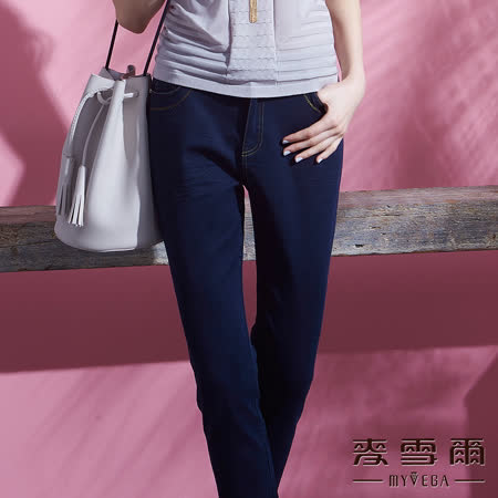 【麥雪爾】棉質彈性雙口袋單寧棉質九分褲