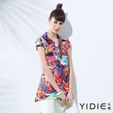 【YIDIE衣蝶】襯衫領滿版色彩花卉印花上衣