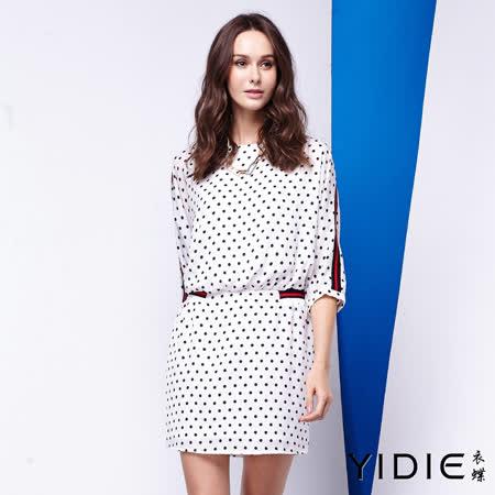 【YIDIE 衣蝶】點點滿版束腰短洋裝-白
