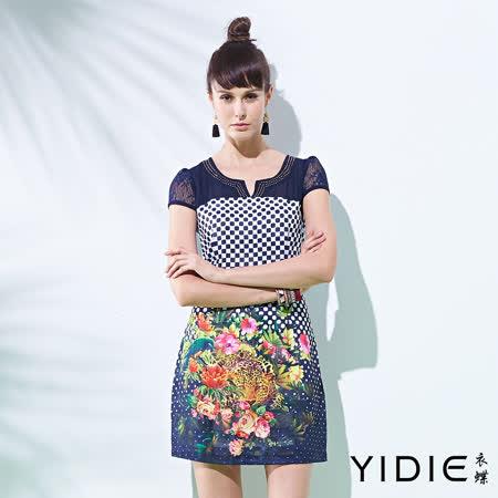 【YIDIE衣蝶】圓點點印花蕾絲袖短洋裝