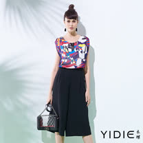 【YIDIE衣蝶】假兩件印花褲裙式長洋裝