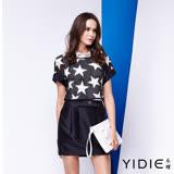 【YIDIE衣蝶】襯衫式星星兩件式短洋裝
