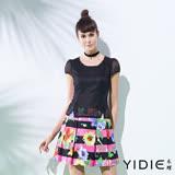 【YIDIE衣蝶】假兩件網格印花百褶短洋裝
