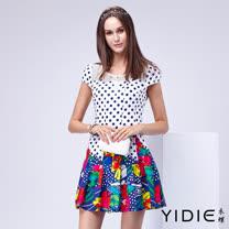 【YIDIE衣蝶】亮麗印花點點短洋裝