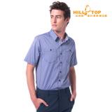 【hilltop山頂鳥】男款吸濕排汗抗UV短袖襯衫S06M62牛仔藍
