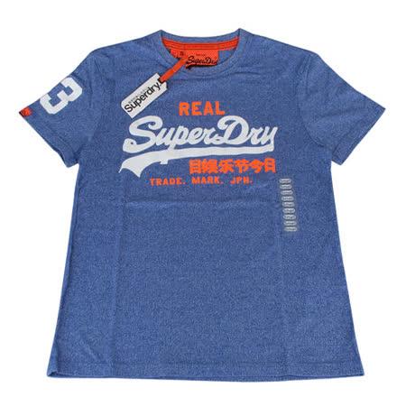Superdry極度乾燥 經典LOGO圖樣圓領造型夏季短袖T恤(S/M/藍底白字)