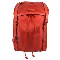 GUCCI 經典雙G緹花緞面尼龍束口翻蓋後背包.橘紅