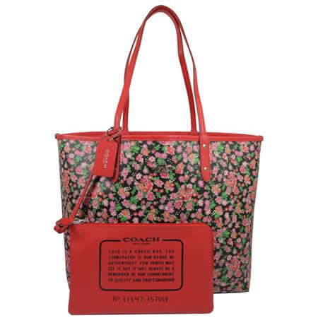 COACH 馬車LOGO花海圖案雙面大購物托特包.黑/紅 F57669