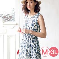 日本ANNA LUNA 預購-甜美鬆緊腰印花無袖洋裝(共五色/M-3L)