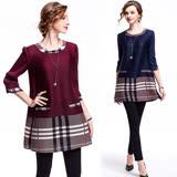 【歐風KEITH-WILL 】歐美時尚格紋拼接寬鬆洋裝