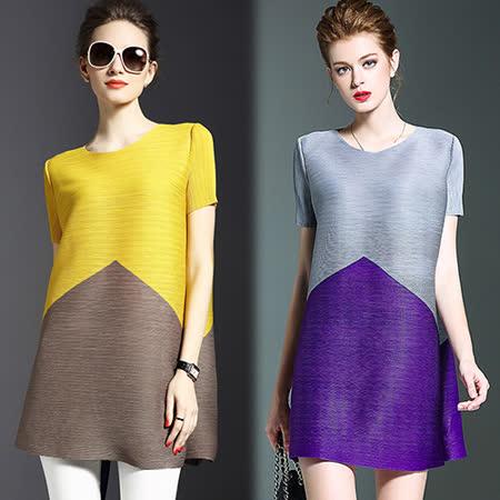 【歐風KEITH-WILL】(預購) 歐美時尚雙色拼接長版上衣