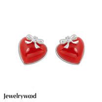 Jewelrywood 甜美紅心蝴蝶結耳環
