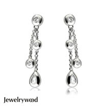 Jewelrywood 純銀天使之淚晶鑽耳環