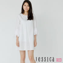 JESSICA RED - 清新百搭荷葉七分袖造型洋裝(白)