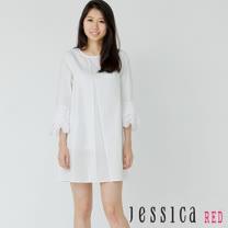JESSICA RED - 清新百搭荷葉七分袖造型洋裝(黑)