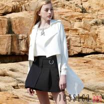 JESSICA RED - 率性翻領造型兩件式大衣(白)