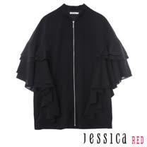 JESSICA RED - 個性荷葉造型五分袖外套(黑)