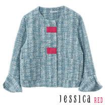 JESSICA RED -  微甜氣質格紋荷葉袖外套(藍)