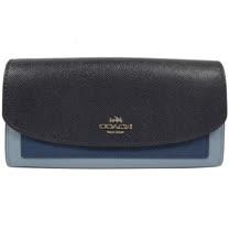 COACH 馬車LOGO撞色皮革PVC扣式長夾.粉藍/深藍 F56492