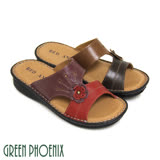 【GREEN PHOENIX】RED ANT素雅立體雙色花朵真皮休閒拖鞋