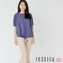 JESSICA RED - 休閒打褶綁帶縮口短袖上衣(白)