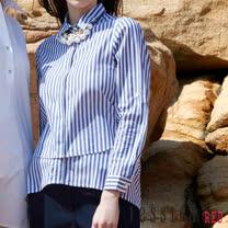 JESSICA RED - 休閒條紋傘擺前短後長襯衫(紫)