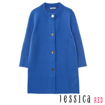 JESSICA RED - 復古素面好搭排釦罩衫外套(藍)