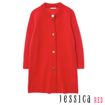 JESSICA RED - 復古素面好搭排釦罩衫外套(紅)