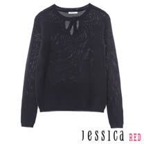 JESSICA RED - 清新百搭混羊毛簍空造型上衣(深藍)