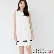 JESSICA RED - 甜美打褶綁帶造型無袖洋裝(白)