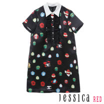 JESSICA RED - 俏皮瓢蟲造型排釦荷葉立領洋裝(黑)
