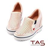 TAS 雷射雕花牛皮內增高休閒鞋-甜美粉