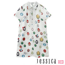 JESSICA RED - 俏皮瓢蟲造型排釦荷葉立領洋裝(白)