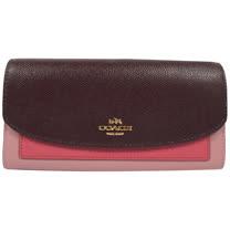 COACH 經典馬車LOGO撞色皮革扣式長夾.粉紅/紫紅 F56492