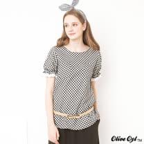 【Olive Oyl奧莉薇】格紋布蕾絲口袋傘狀上衣(共二色)