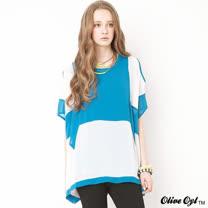 【Olive Oyl奧莉薇】兩件式挖肩拼接雪紡上衣(共二色)