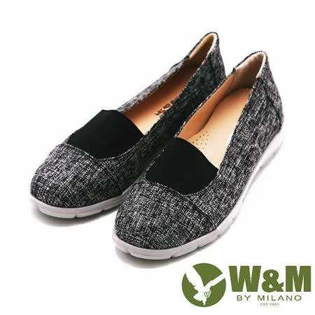 W&M 拼色異材質樂福鞋 女鞋-黑(另有藍、米)