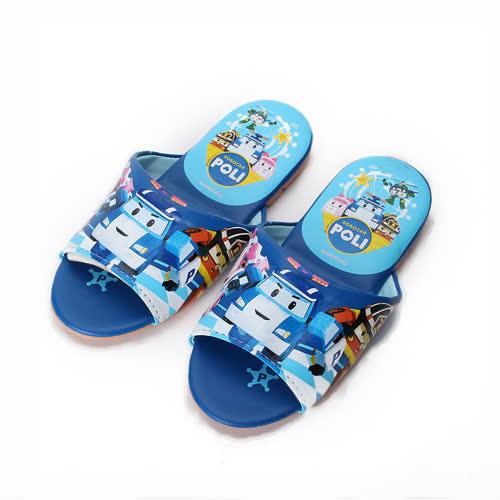 中大童  救援小英雄 POLI波力室內皮拖鞋 藍 童鞋 鞋全家福