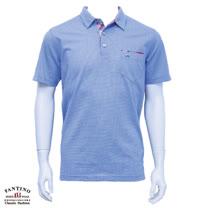 【FANTINO】男裝 微彈性素面拼接POLO衫大尺碼(淺藍紫色) 631139