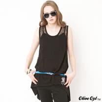 【Olive Oyl奧莉薇】兩件式蕾絲傘狀長版背心上衣(共二色)