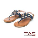 TAS 金屬星星鉚釘羊皮夾腳涼鞋-牛仔藍