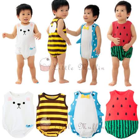 可愛造型無袖連身包屁衣 西瓜/北極熊/企鵝/小蜜蜂 80-95