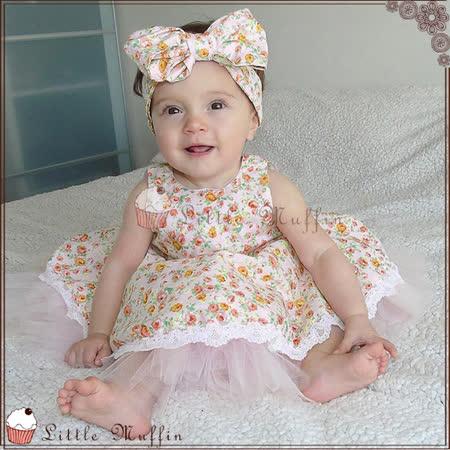 蓬蓬裙小洋裝 碎花蕾絲兩種穿法V口洋裝 可當花童禮服