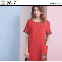 玄太-民俗風拼接印花棉麻長版上衣(紅)