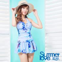 【夏之戀SUMMERLOVE】大女花漾印花連身裙泳衣S17702