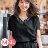 日本ANNA LUNA 預購-折縫下擺珠寶V領上衣(共四色/M-3L)