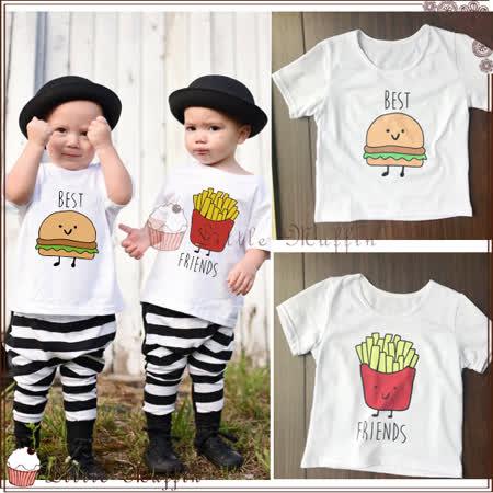 棉質 漢堡薯條好朋友百搭短袖透氣吸汗上衣/T-shirt