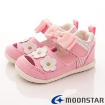 日本Carrot機能童鞋-帆布小花護踝款-B914粉-(13cm-14.5cm)