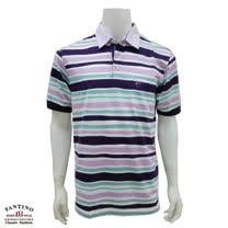 【FANTINO】男裝 65支雙絲光棉彩條POLO衫 431323