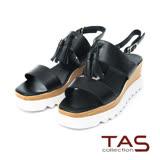 TAS 流蘇寬版繫帶厚底涼鞋-時尚黑
